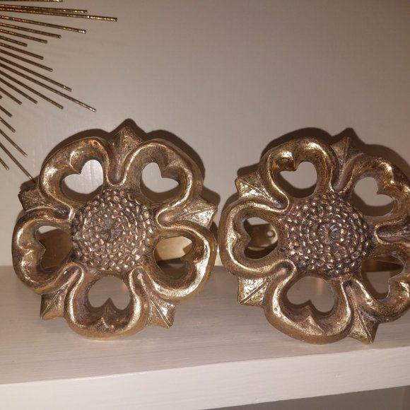 Vintage Other - Vintage Brass Floral Curtain Tie Back Pair